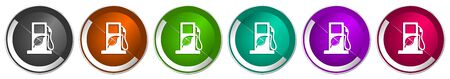 Biofuel icon set, silver metallic chrome border vector web buttons in 6 colors options for webdesign