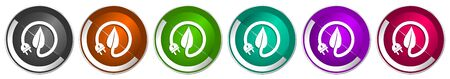 Eco electricity, leaf icon set, silver metallic chrome border vector web buttons in 6 colors options for webdesign