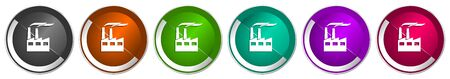 Factory icon set, industrial building, plant, pollution silver metallic chrome border vector web buttons in 6 colors options for webdesign