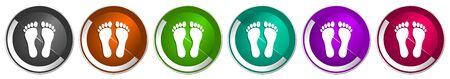 Foot icon set, silver metallic chrome border vector web buttons in 6 colors options for webdesign
