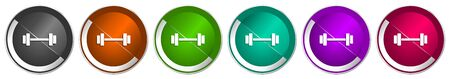 Fitness icon set, gym, sport silver metallic chrome border vector web buttons in 6 colors options for webdesign