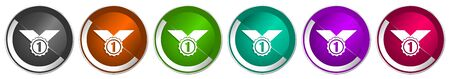 Badge icon set, winner, first, award silver metallic chrome border vector web buttons in 6 colors options for webdesign