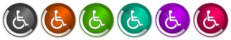 Wheelchair icon set, silver metallic chrome border vector web buttons in 6 colors options for webdesign