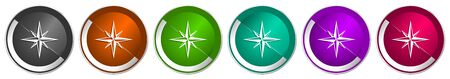 Compass icon set, silver metallic chrome border vector web buttons in 6 colors options for webdesign