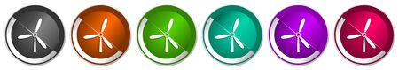 Windmill icon set, silver metallic chrome border vector web buttons in 6 colors options for webdesign