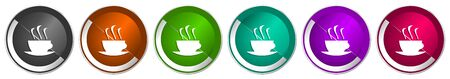 Coffee icon set, silver metallic chrome border vector web buttons in 6 colors options for webdesign