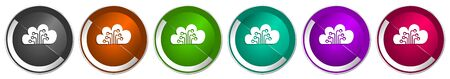 Cloud computing icon set, technology, circuit, data silver metallic chrome border vector web buttons in 6 colors options for webdesign