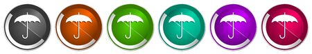 Umbrella icon set, silver metallic chrome border vector web buttons in 6 colors options for webdesign