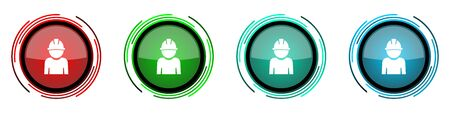 Engineer round glossy vector icons, worker, manager, employe set of buttons for webdesign, internet and mobile phone applications in four colors options isolated on white background