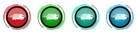 Speed transport round glossy vector icons, fast delivery, truck set of buttons for webdesign, internet and mobile phone applications in four colors options isolated on white background