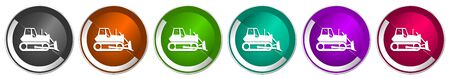 Bulldozer icon set, heavy machine, tractor silver metallic chrome border vector web buttons in 6 colors options for webdesign