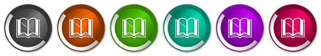 Book icon set, silver metallic chrome border vector web buttons in 6 colors options for webdesign