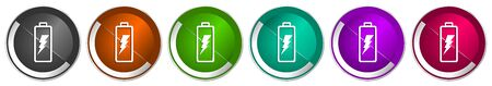 Battery icon set, silver metallic chrome border vector web buttons in 6 colors options for webdesign Vektorové ilustrace