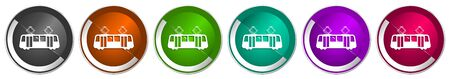 Tram icon set, silver metallic chrome border vector web buttons in 6 colors options for webdesign