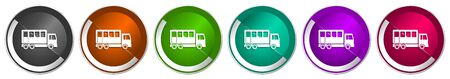 Off road bus icon set, combination truck silver metallic chrome border vector web buttons in 6 colors options for webdesign