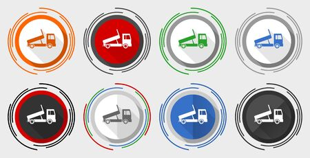 Dump truck vector icon set, transport, transportation modern design flat graphic in 8 options for web design and mobile applications