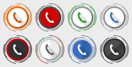 Phone vector icon set, call, contact modern design flat graphic in 8 options for web design and mobile applications