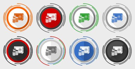 Safe and money vector icon set, bank, business modern design flat graphic in 8 options for web design and mobile applications Ilustracja
