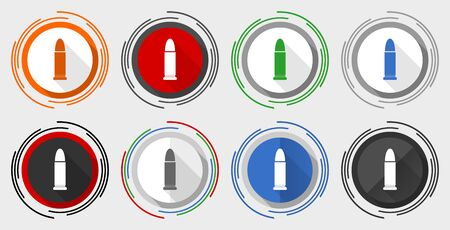 Ammunition vector icon set, modern design flat graphic in 8 options for web design and mobile applications