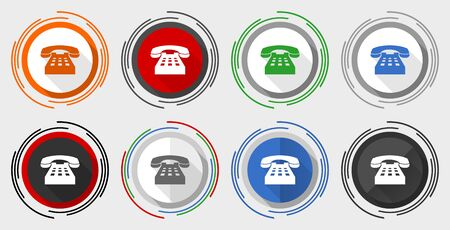 Phone vector icon set, modern design flat graphic in 8 options for web design and mobile applications