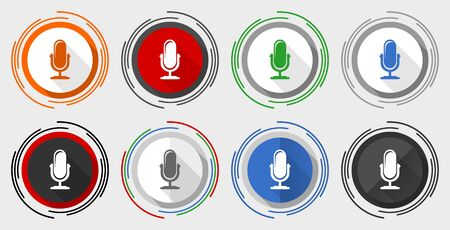 Microphone vector icon set, modern design flat graphic in 8 options for web design and mobile applications