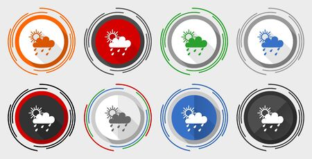 Rain vector icon set, modern design flat graphic in 8 options for web design and mobile applications