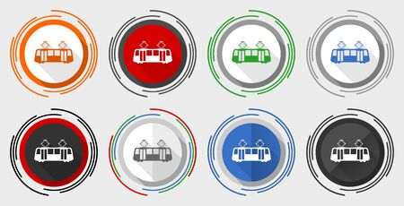 Tram vector icon set, modern design flat graphic in 8 options for web design and mobile applications