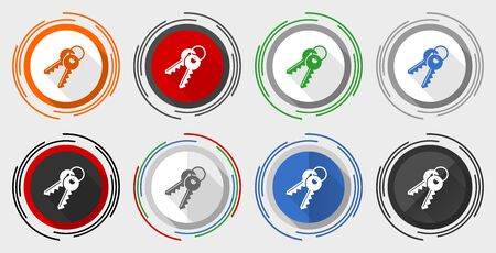 Keys vector icon set, modern design flat graphic in 8 options for web design and mobile applications