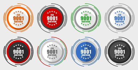 Iso 9001 vector icon set, modern design flat graphic in 8 options for web design and mobile applications