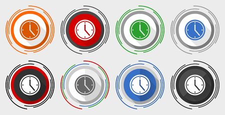 Time vector icon set, modern design flat graphic in 8 options for web design and mobile applications