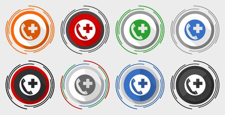 Emergency call vector icon set, modern design flat graphic in 8 options for web design and mobile applications 向量圖像