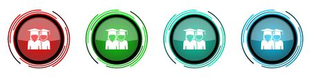 Education round glossy vector icons, educate, graduate, female and male students set of buttons for webdesign, internet and mobile phone applications in four colors options isolated on white background