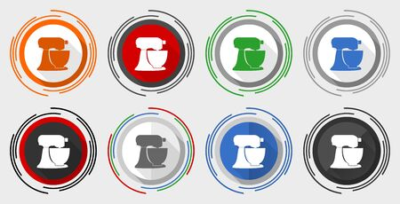 Planetary mixer, kitchen equipment modern design flat graphic in 8 options for web design and mobile applications