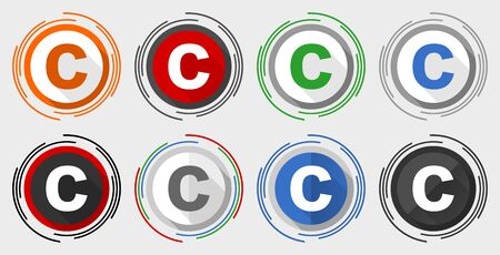 Copyright vector icon set, modern design flat graphic in 8 options for web design and mobile applications