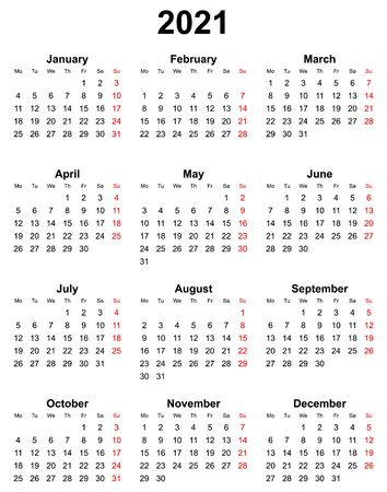 Simple editable vector calendar for year 2021 sundays in red, mondays first