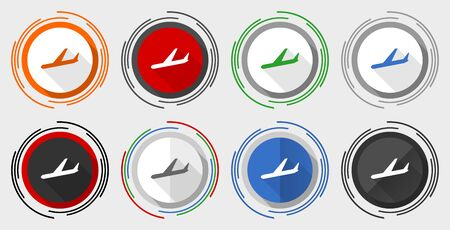 Arrivals vector icons, flight, airplane vector icons, set of colorful web buttons