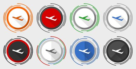 Deparures vector icons, flight, airplane vector icons, set of colorful web buttons