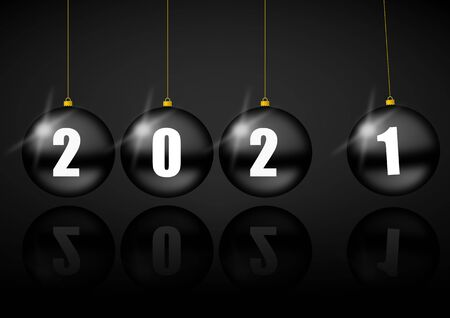 New year 2021 greeting card with black balls, pendulum concept illustration