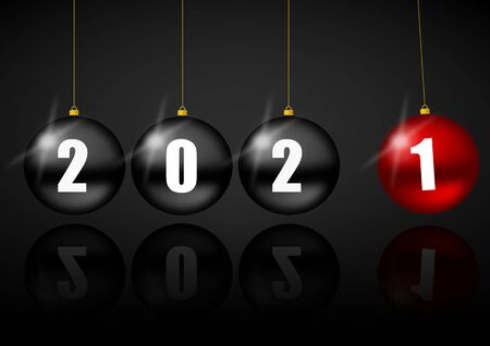 New year 2021 greeting card with black and red balls, pendulum concept illustration