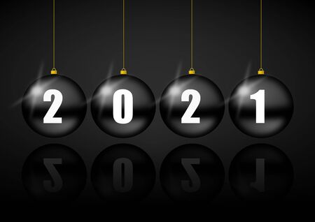New year 2021 greeting card with black christmas balls, pendulum concept illustration