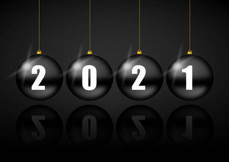 New year 2021 greeting card with black christmas balls, pendulum concept illustration Stockfoto - 149925599
