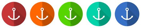 Anchor icon set, red, blue, green and orange flat design web buttons isolated on white background, vector illustration Vectores