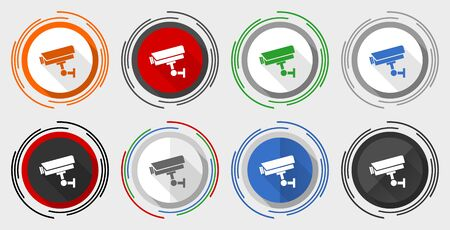 Cctv camera vector icons, set of colorful web buttons