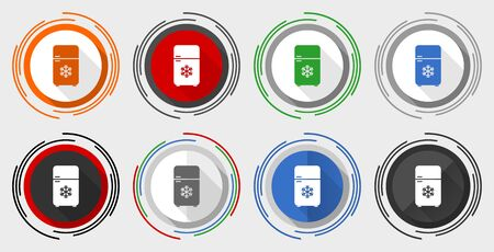 Refrigerator vector icons, fridge, cooler vector icons, set of colorful web buttons