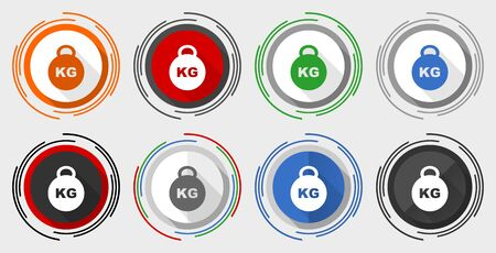 Kilogram vector icons, kilo, kg, weight vector icons, set of colorful web buttons Çizim