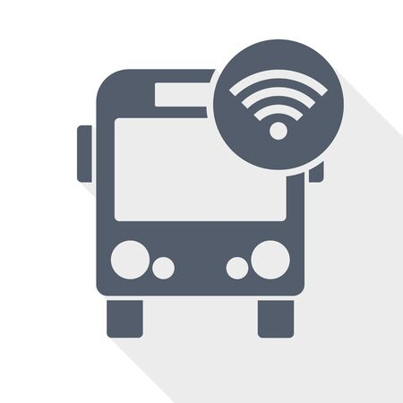 Bus with wifi, internet symbol, vector icon, flat design illustration