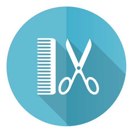 Barber vector icon, flat design blue round web button isolated on white background Çizim