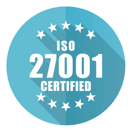 Iso 27001 vector icon, flat design blue round web button isolated on white background
