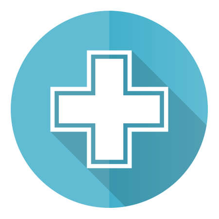 Pharmacy vector icon, flat design blue round web button isolated on white background Vetores
