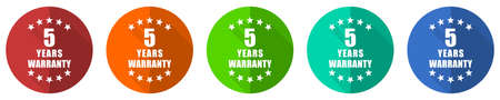 Warranty guarantee 5 year icon set, red, blue, green and orange flat design web buttons isolated on white background, vector illustration
